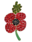 FENGJI Poppy Brooch Red Rhinestone Banquet Crystal Pin Remembrance Gift