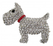 Brooch Boutique Silver Plated Diamante Crystal Chunky Scottish Terrier Brooch / Westie / West Highland Terrier / Scotty Dog / Scottie