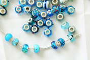 RKC Colourful Blue Glass CHARM Beads BUY 1 to 100 Pcs Silver Plated MULTI DESIGN Murano Lampwork European Crystal Charms Bead Spacers For / Fits Pandora Troll Chamilia Chain SNAKE Bracelets Necklaces