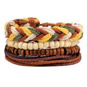 Demiawaking Unisex Braided Bracelets Charms, Adjustable Multi Strand Braided Wristbands Wooden Beads Bracelet Wrist