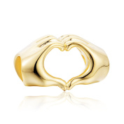 I love you heart in hands 18k gold charm necklace for girls fit pandora bracelet women's jewellery