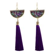 Pu Ran Women Retro Ethnic Style Rhinestone Fan Shaped Tassel Statement Dangle Earrings