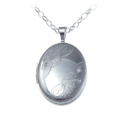 Small Sterling Silver Oval Locket Pendant With 46cm Chain & Jewellery Gift Box