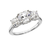 Myia Passiello Platinum Plated Sterling Silver Cushion Cut Zirconia 3 Stone Anniversary Ring