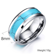 Vnox 8mm Tungsten Carbide Ring Blue Turquoise Inlay High Polish Bevelled Edge Wedding Band,Silver Base,UK Size N 1/2 to X 1/2