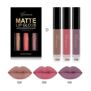 Matte Lip Gloss, ADESHOP 3PCS Waterproof Lip Gloss Matte Long Lasting Liquid Lipstick