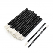 sourcingmap® 50 Pcs Black Disposable Makeup Cosmetic Lip Brush Lipstick Gloss Wands Kits for Ladies