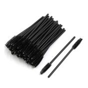 sourcingmap® 100 Pcs Black Disposable Eyelash Eye Lash Makeup Brush Mascara Wands Applicator Kits