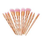 Chinget 10pcs Cosmetic Brushes Rose Gold Colour Foundation Eyeliner Blush Concealer Brushes