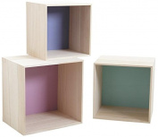 Set of 3 Coloured Wooden Cube Shelves
