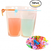 Yofan 20pcs Clear Drink Pouches Bags Heavy Duty Hand-held Translucent Reclosable Zipper Stand-up Plastic Pouches Bags Drinking Bags 6.1cm Bottom Gusset with Straws 50pcs