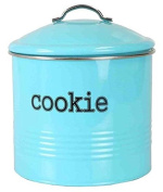 Home Basics Tin Cookie Jar, Ribbed Design, Turquoise, 19cm x 19cm