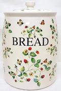Stawberries & Butterflies Bread Bin Cream Ceramic Strawberries Vintage Bread Crock Hand Decorated in the UK