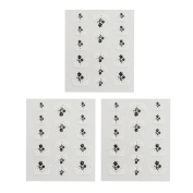 sourcingmap® 3 Sets Flower Printed French Style Nail Art Sticker Decals Manicure Tips Faux Rhinestone Decoration