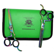 Multi Hairdressing Barber Salon Scissors, Thinning Scissors set 6 Inch (15.24 cm) with Green Case