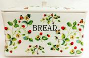 Stawberries & Butterflies Bread Bin Ceramic Cream Bread Crock Hand Decorated in the UK