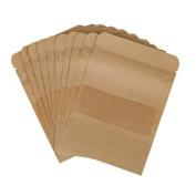 Haodou Kraft Paper Zip Lock Food Bag Cookie Tea Bag with Window Storage Package Stand Up Bags Sealing Tea Coffee Packing 100Pcs Brown S