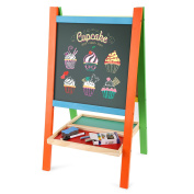 Smibie Kids Drawing Board Chalk Board Wooden Floor Painting Board Double Sided Adjustable Height Magnetic Easel with Magnetic Shapes,Alphabet, Numbers