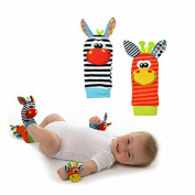 Infant Baby Foot Socks Wrist Bands Rattles Toys, D & & R 2 Pair Unisex Animal Soft Hands Foots Finders Developmental Toys Gifts for Newborn Baby Boy Girl