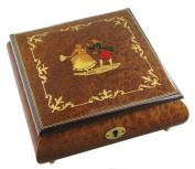 Wooden musical jewellery box with dancers inlay and 18-note musical mechanism - Swan lake