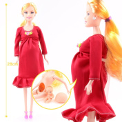 VWH Pregnant Doll Mom Doll Have A Baby In Her Tummy Attractive Barbie Toy For Kid Child