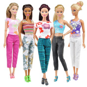 Monicanine 5 Tops + 5 Pants Fashion Girl Gift Casual Summer Clothes Outfit for Barbie Doll