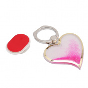 Lalang Universal Phone Ring Bracket Holder, Heart Shape Quicksand Finger Grip Stand Holder Ring Pink