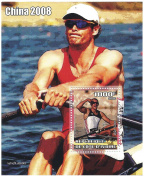 China 2008 Olympics souvenir stamp sheet miniature featuring rowers Olaf Tuffe and Derek Porter