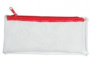 6 x Clear Transparent Plastic Zipped Pencil Cases - Exam Pencil Cases