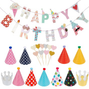 Lictin Birthday Party Decorations Favours, Happy Birthday Banner with 10 Pink Heart-shaped Cake Inserted Card,9 Hats ,2 Crowns and 1 Rope, Happy Birthday Banner Kit Birthday Crowns Birthday Hats R