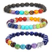 3 Pcs 7 Chakra Bracelet 8mm lava rock beads Yoga Meditation Natural Stone for Women and Men Reiki Energy Balancing