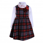 Lajinirr Girls England Red Plaid Clothing Set Long Sleeve Blouse Grid Dress