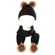 Bluelans Baby Boys Girls Knitting Woollen Yarn Winter Scarf Beanie Set with Faux Fur Balls