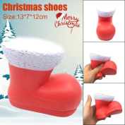 Sansee 13cm Cute Christmas Shoes Cream Scented Squishy Slow Rising Soft Squeeze Toys Phone Charm