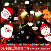 The glass wall stickers for nursery schools Christmas shop window decals decor, New Year's Day happy new year snow ,06 cartoon welcome Christmas Door Decals