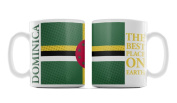 Dominica, 'The Best Place On Earth', National Flag Design With Cool Half Tone Background, Ceramic 330ml Mug