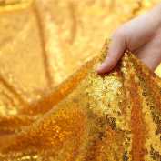 3E Home 1 Yard Gold Sequin Fabric Tablecloth Sparkle Glamorous Stretch for DIY Decoration Wedding/Party, 130cm Width