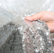 3E Home 2 Yard Silver Sequin Fabric Tablecloth Sparkle For Photography Backdrop Curtain Wedding/Party, 130cm Width