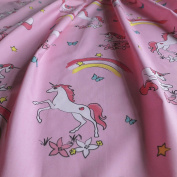 Pink Unicorn & Rainbow Print on 100% Cotton Poplin - Sold By The Metre - 150cm wide