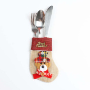 Souarts Kitchen Cutlery Suit Holders Pockets Forks Bag Bear Shaped Christmas Decoration