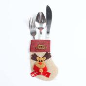 Souarts Kitchen Cutlery Suit Holders Pockets Forks Bag Deer Shaped Christmas Decoration