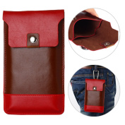 Multifunction Phone Pouch Bag PU Leather Phone Carrier HuaForCity 14cm Double Layer Durable Phone Pouch with Hook for Climbing/Hiking/Cycling and Travelling Coffee