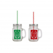 CGB Giftware 1 Christmas Festive Greeting Mason Jar (Width: 10cm . Height