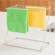 Flodable Kitchen Dish Towel Holder Hand Towel Rack Towel Dryer Free Standing for Table Counter Stainless Steel