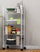 Anna Kitchen Shelves Kitchen floor racks can be moved fruit and vegetable storage rack 4 layer mobile cart frame