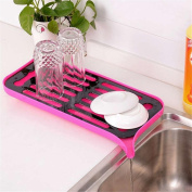 ECYC® Double Layer Kitchen Drain Rack Bowl Storage Holder Vegetable Fruits Draing Board,Rose