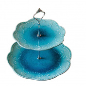 houyuanshun European Ice Crack Glaze Blue Fruit Plate Creative Fruit Plate Simple Ceramic Dessert Plate Home Decorations Ornaments