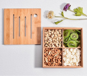 Creative tray with four plates of bamboo fruit plate, candy box, multi-sub-zero snack plate, dried fruit plate, storage box