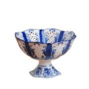 Fashion creative ceramic ceramic home decoration Decoration fruit plate, blue and white carving art fruit plate