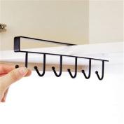 Mug Holder Under Shelf Cup Hanger Drying Rack 6 Hooks Tie Hanger Towel Holder Organiser Storage for Cabinet Kitchen Cupboard Bathroom